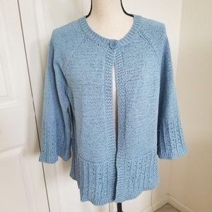 Carole Little Lt. Blue One Button Cardigan Sweater